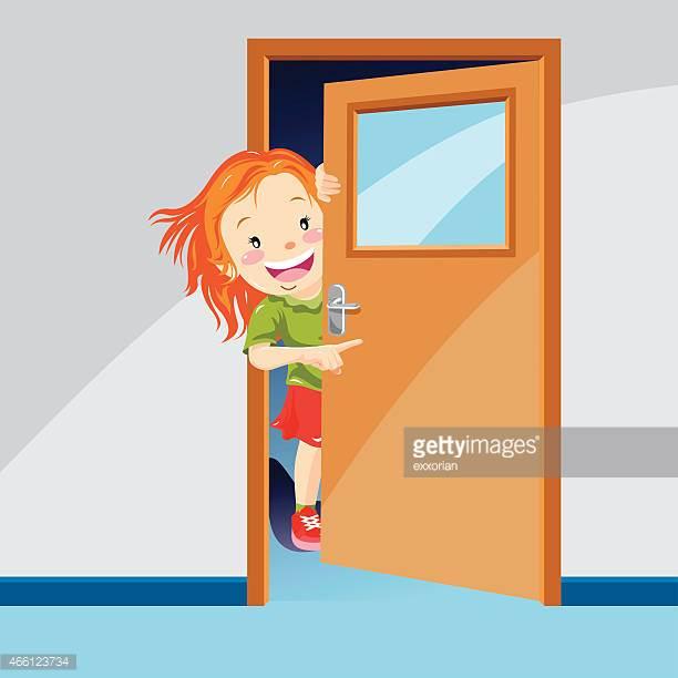 Door clipart three Collection Through Cartoon Door Boy