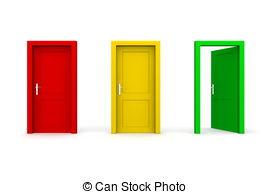Door clipart three Open door door clipart Stock