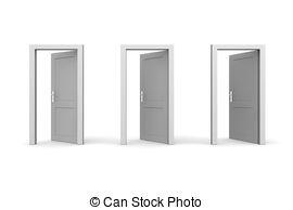 Door clipart three Three Doors Grey Open Stock