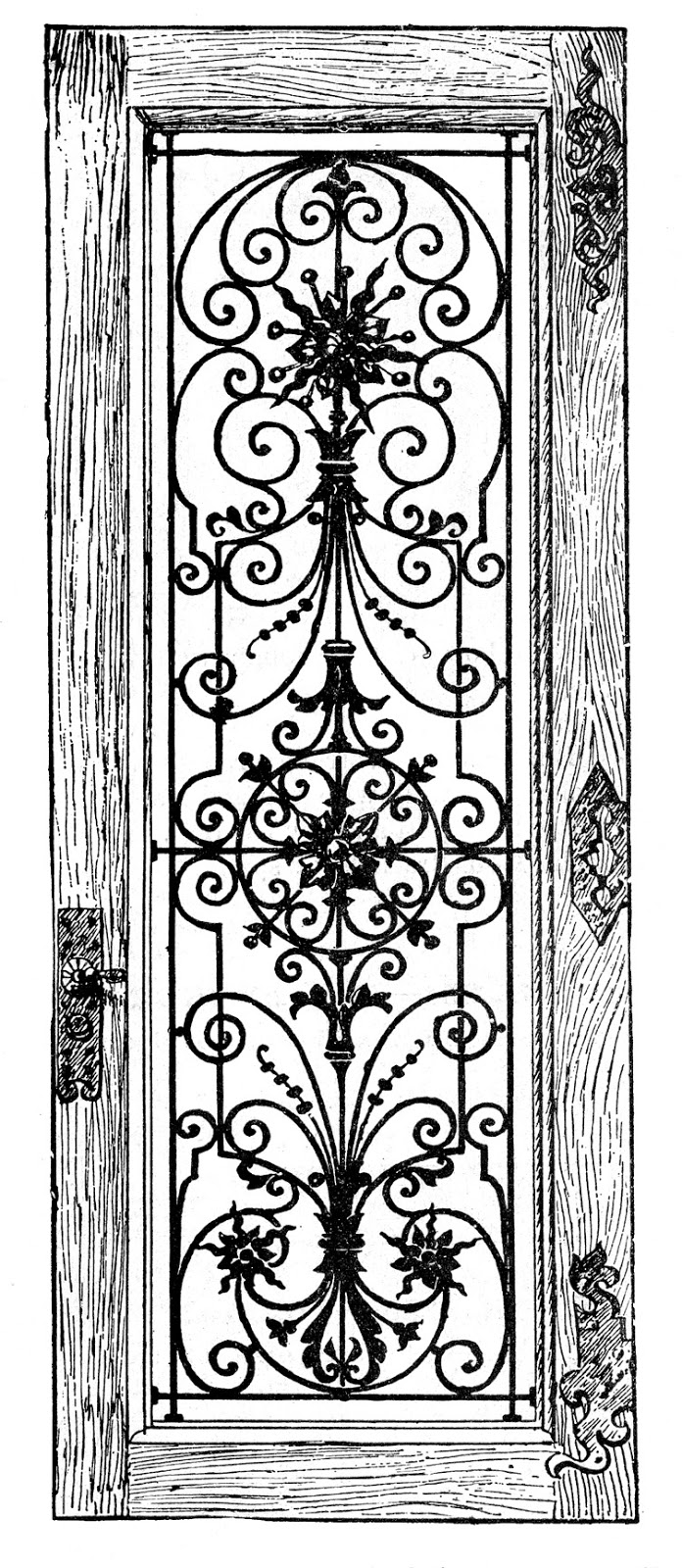 Door clipart wood door Wood Fancy Door Iron Image