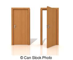 Door clipart wood door Stock rendering isolated Wooden white