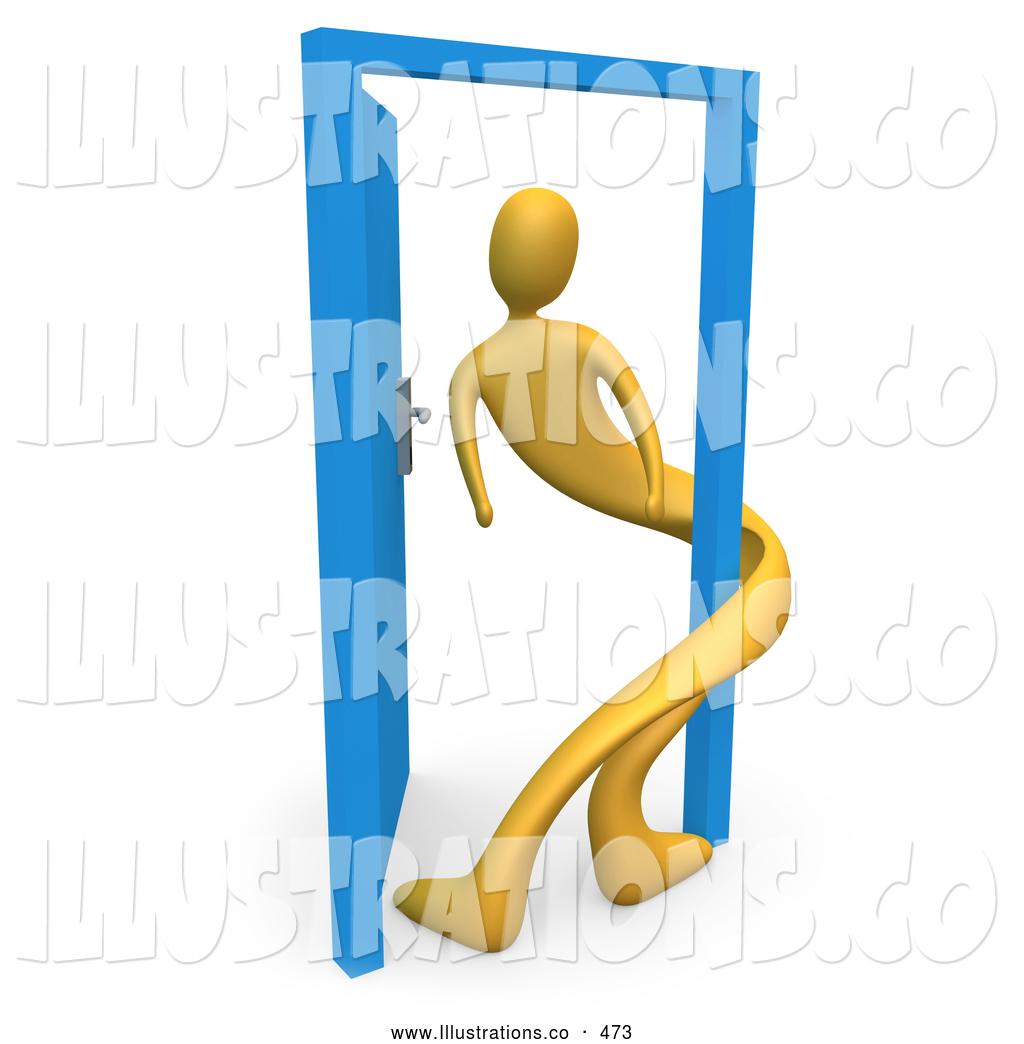 Doorway clipart blue door Open Person an Split Uncertainty