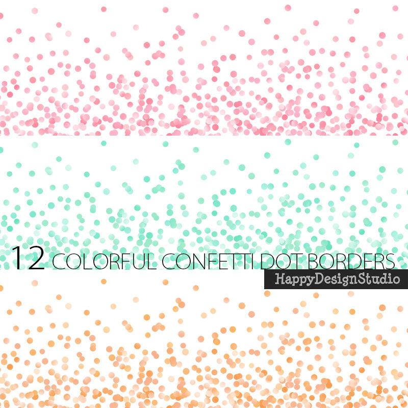 Dots clipart confetti Bright border digital Christmas this
