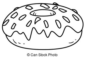 Bagel clipart black and white Outline Glazed Outlined A Vector