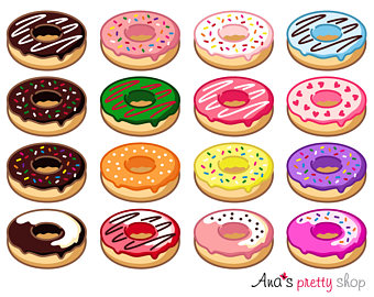 Pastry clipart baked sweet Birthday doughnut Digital clipart Donuts