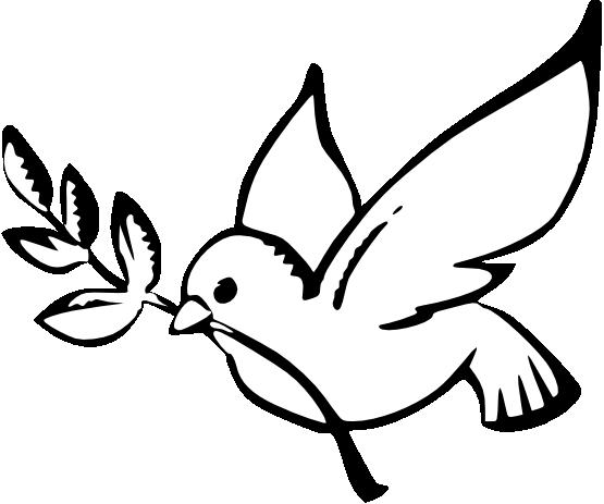 Peace Dove clipart black and white #1