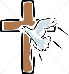 Peace Dove clipart lent Cross with Outlined Flying Clipart