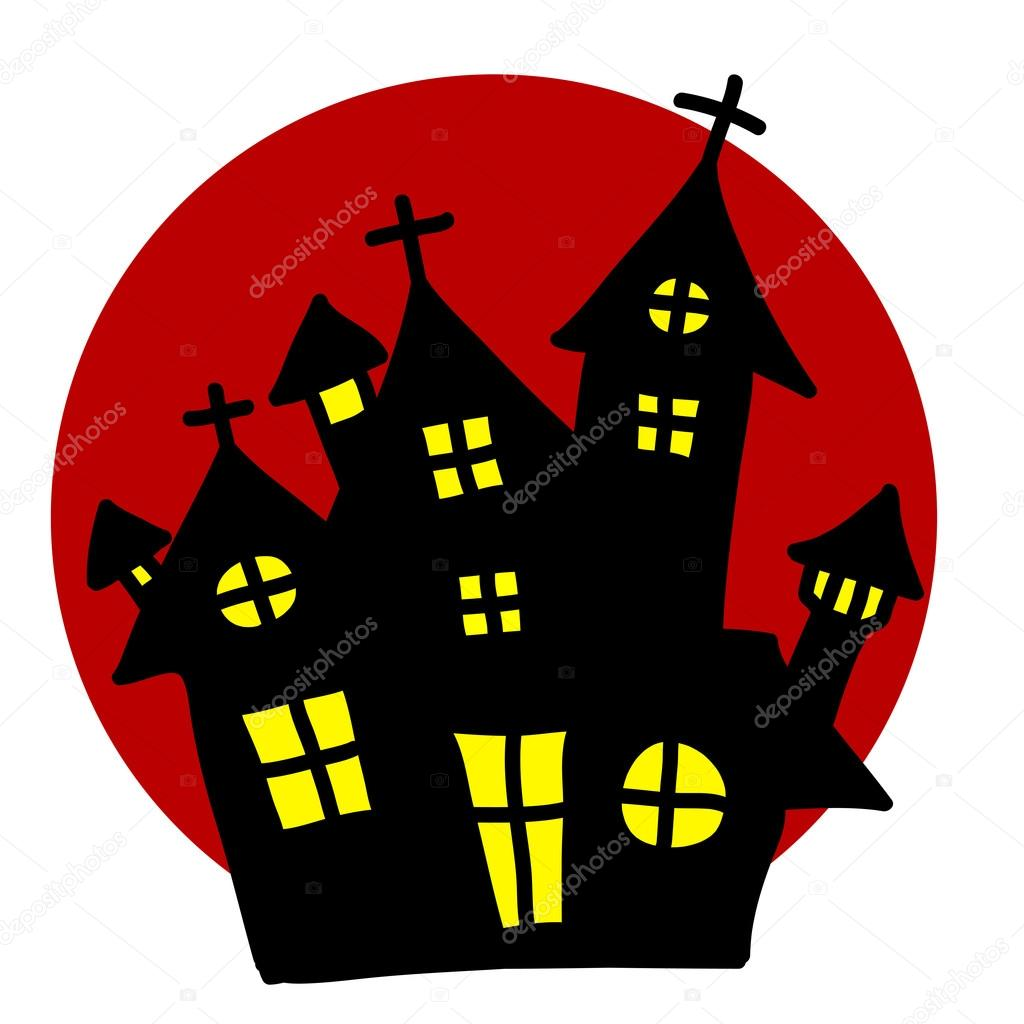 Dracula clipart creepy house Moon Creepy Stock House red