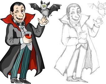 Dracula clipart halloween vampire costume Etsy illustration Vampire bat vampire