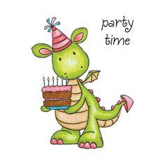 Birthday clipart dragon Stamp Wishing Clear ROSE Studio