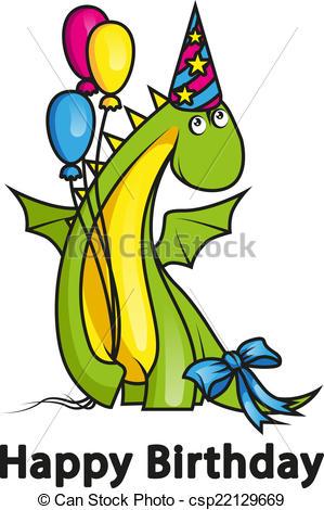 Birthday clipart dragon Dragon Happy wearing Art Cute