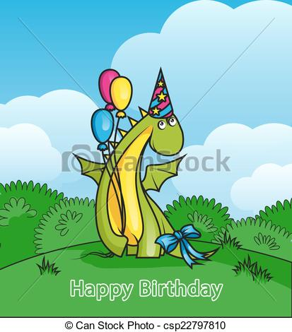 Birthday clipart dragon Dragon Happy wearing Clip Cute