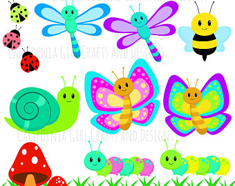 Butterfly clipart ladybug Cute Garden the Bees Set