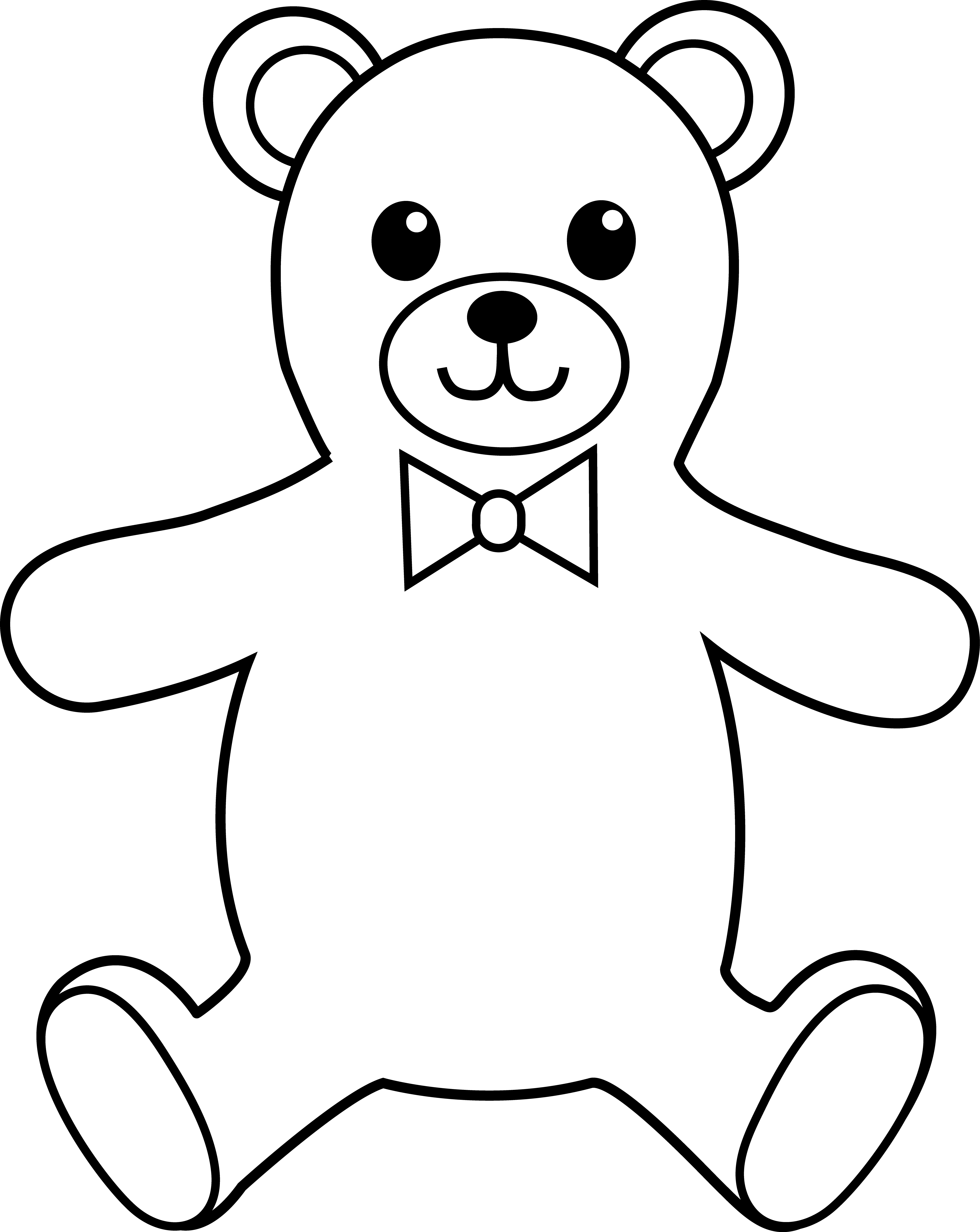 Teddy clipart outline Download Art Line Colorable Teddy