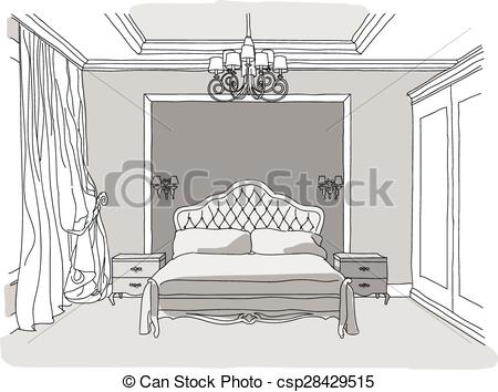Bed clipart drawn And Luxury white interior Clip