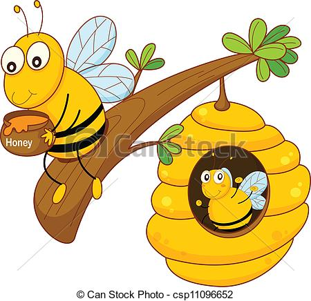 Drawing clipart bee Bee and honey comb