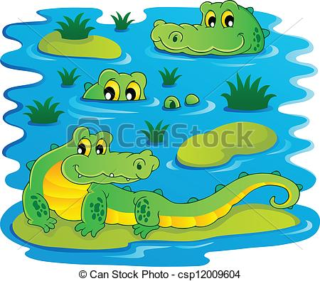 Alligator clipart water drawing 1 Vector 1 Image vector