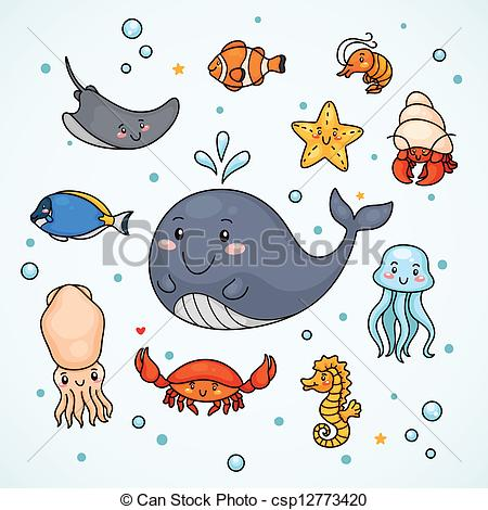 Drawn squid squid monster Cute sea Illustration starfish of
