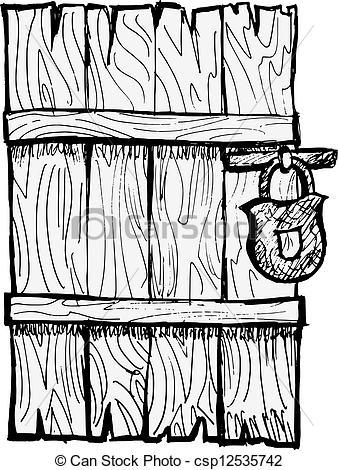 Door clipart wood door Closed door of ld wooden