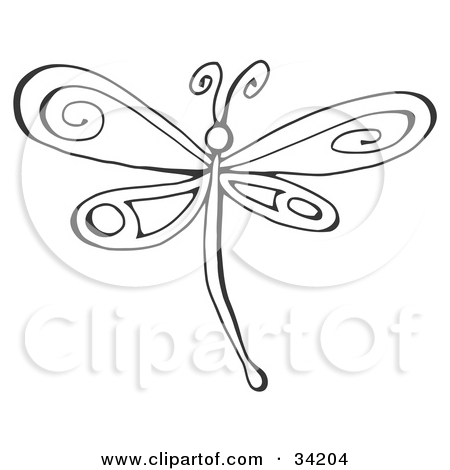 Drawing clipart dragonfly White Illustration Clip With a