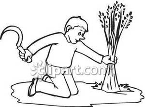 Drawn scythe medieval farming White Drawing Clipart Scythe Farmer
