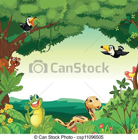 Drawn jungle border Of a Illustration scene Clipart