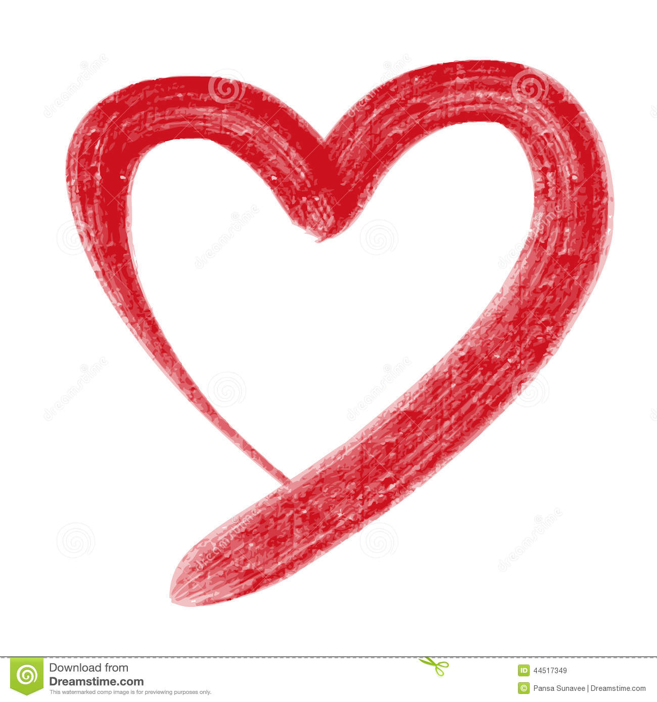 Drawn heart lipstick Red Heart Free Clipart