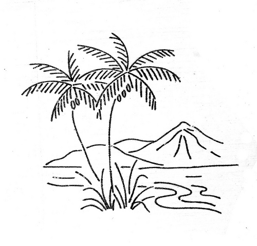 Tropical clipart black and white #2