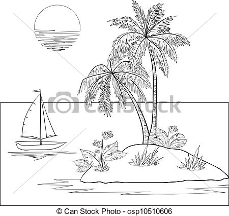 Islet clipart Sun Island with Ship and