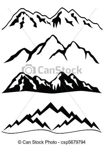 Peak clipart mountain sketch Mountains with snow peaks