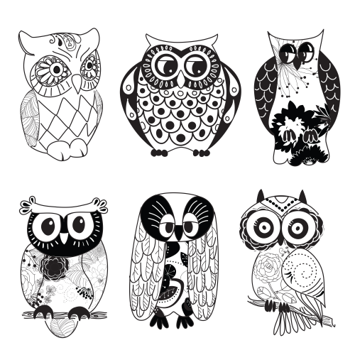 Owlet clipart black and white  This black owl printable