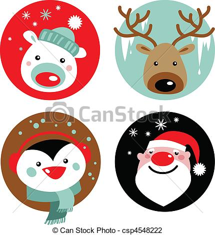 Penguin clipart reindeer Characters Vector Christmas of characters