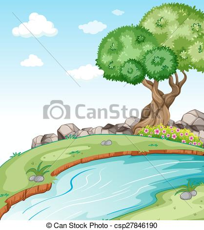 Drawn river river scenery EPS csp27846190 with Vectors Flowing