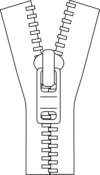 Zipper clipart stitching Clip public Outline Clker &