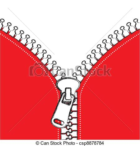 Zipper clipart stitching Space of copy zip red