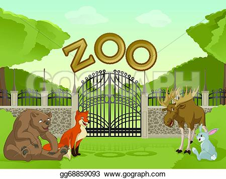 Zoo clipart door Clipart zoo image Drawing with