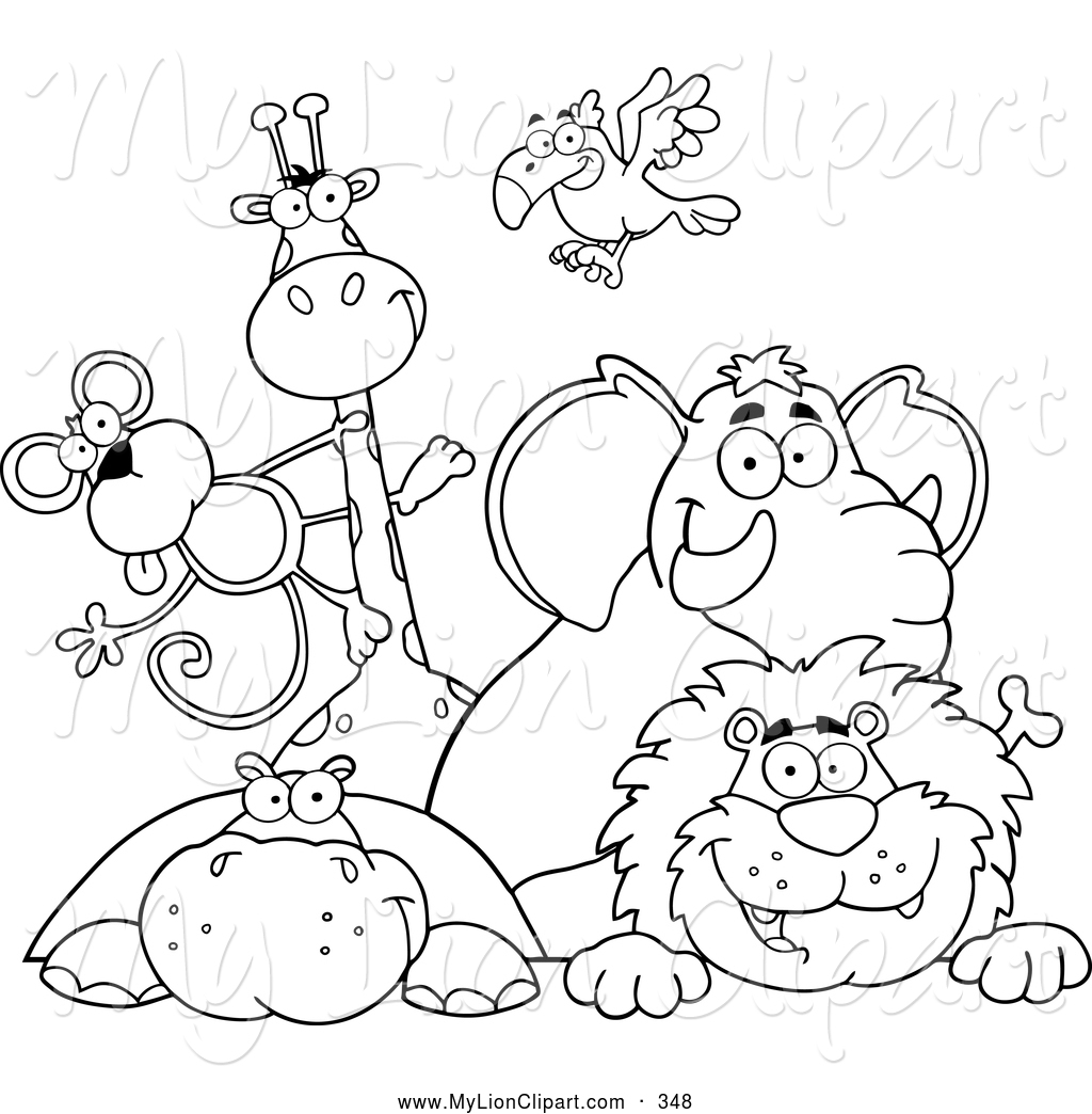 Zoo clipart black and white Collection white online Outlined animal