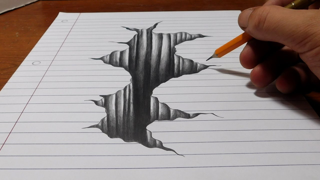 Drawn waterdrop love On 3D Line Art Hole