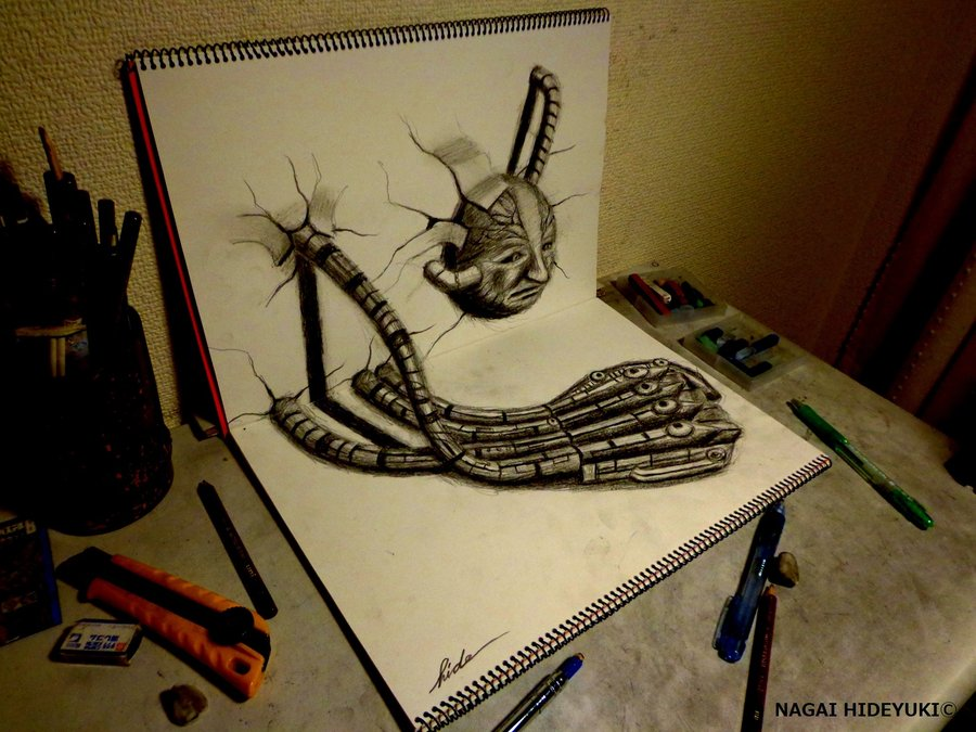 Drawn 3d Drawing NAGAIHIDEYUKI Machine 3D DeviantArt