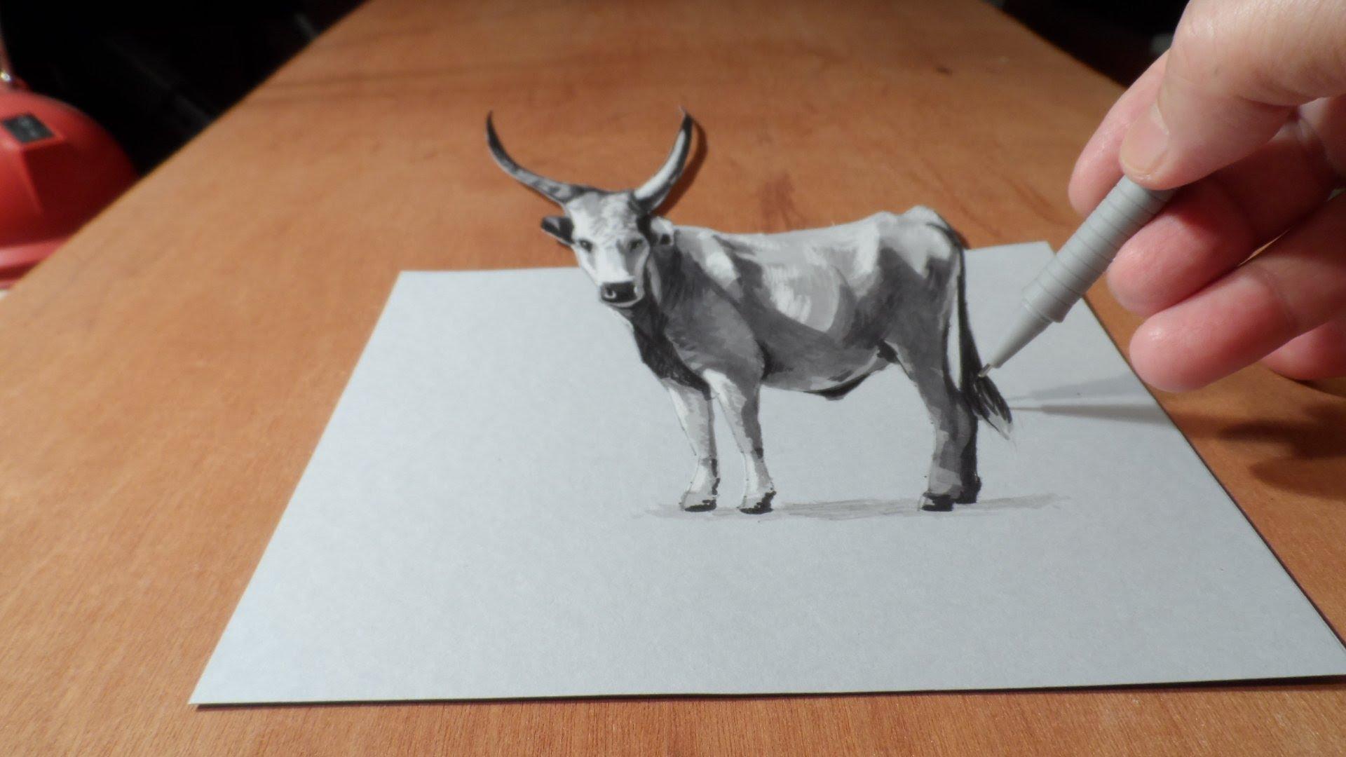 Drawn paper hd 3d Cattle 3D Draw Art