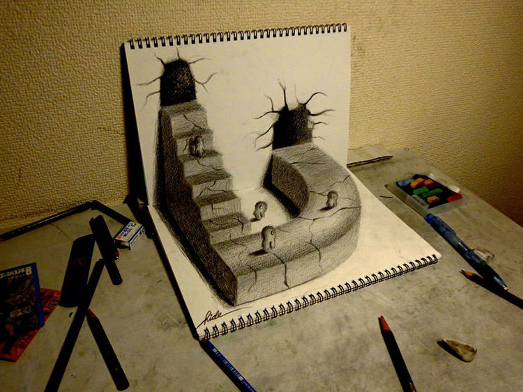 Drawn stairs bridge Pencil Drawings Free 3D 3D