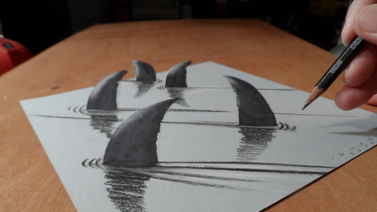 Drawn 3d Art to 3D Draw Sharks