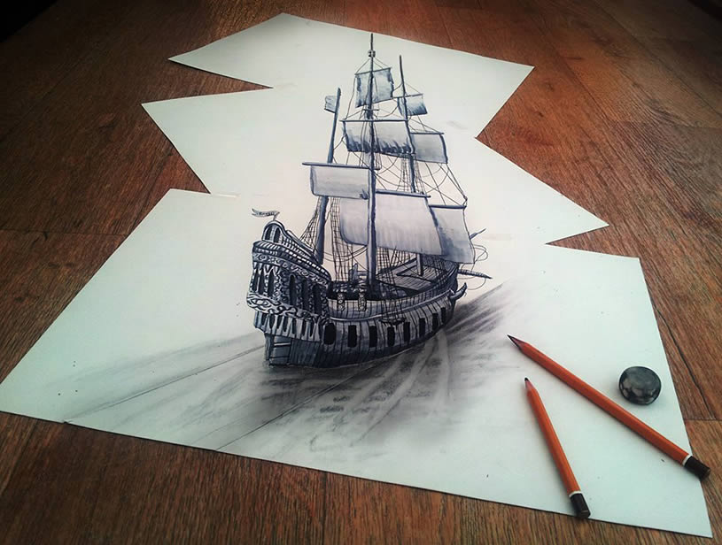 Drawn 3d Ship Flat Drawn Ship June