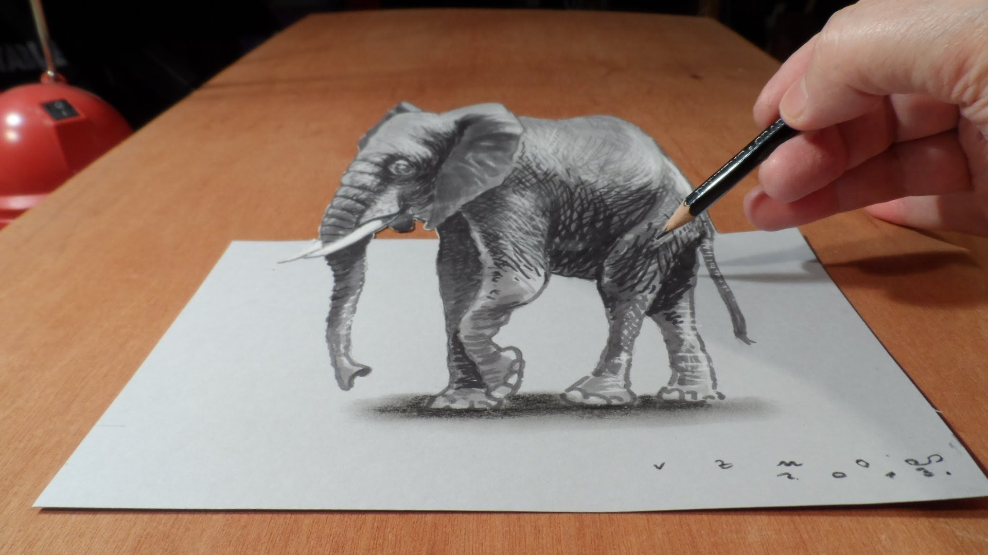 Drawn 3d art On YouTube 3D Elephant Drawing