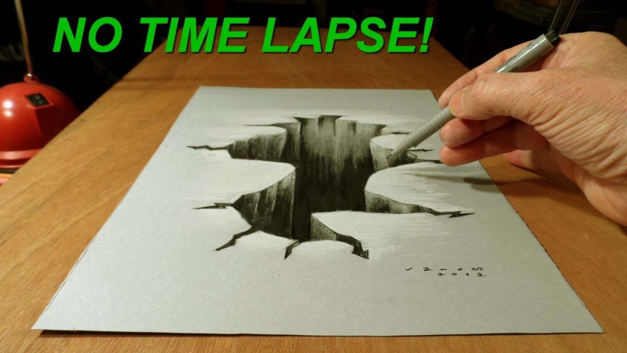 Drawn brick crack YouTube 3D Paper Lapse No