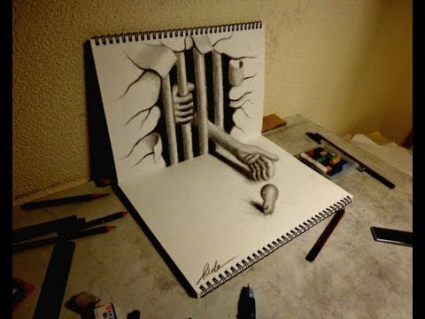 Drawn 3d art ripped paper Amazing 3D sketchbook【21】 Art 3D