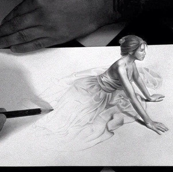 Drawn 3d art black and white #8