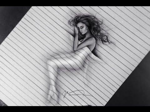 Drawn 3d art black and white #11