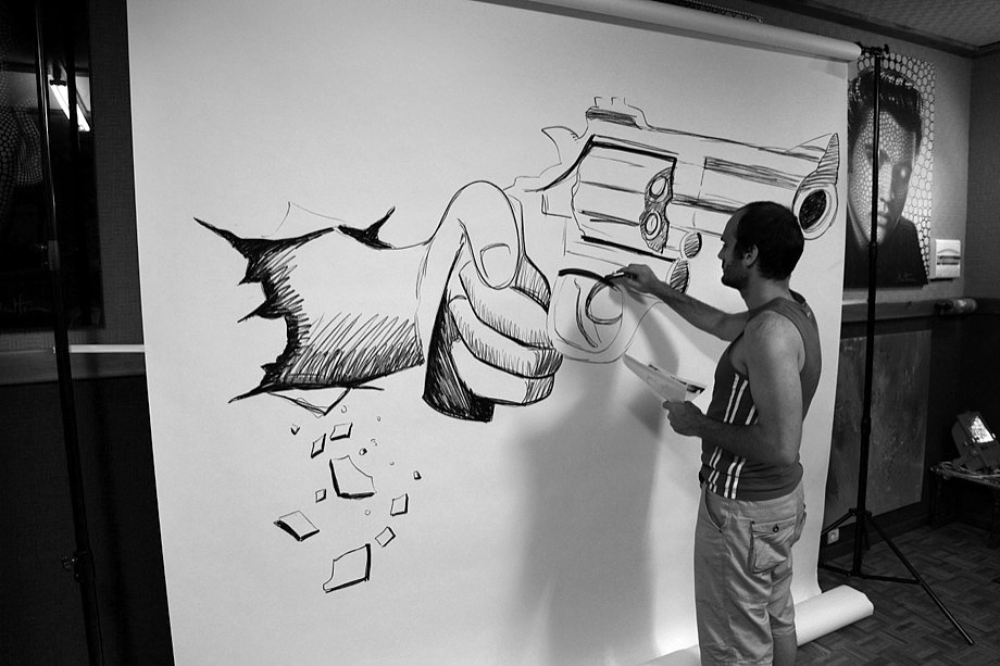 Drawn 3d art black and white #10