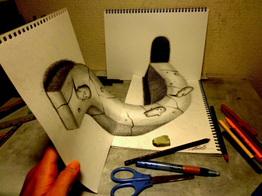 Drawn 3d art different angle #15